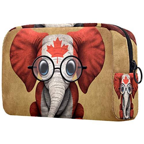 ATOMO Neceser de maquillaje de moda, neceser grande, organizador de maquillaje para mujeres, elefante bebé con gafas y bandera canadiense