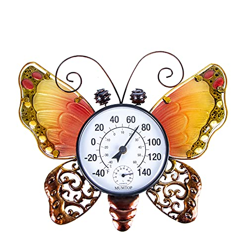 Room Thermometer Indoor Outdoor Thermometers Hanging Butterfly Hygrometer...