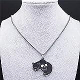 N/A Regalo Colgante de Collar de Mujer Collares de Cadena de Acero Inoxidable deGato,Collar de Pentagrama invertido de Color Negro Plateado, joyería