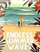 無限の夏の波、ブリキのサインヴィンテージ面白い生き物鉄の絵画金属板パーソナリティノベルティ