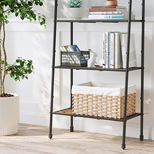 VASAGLE4-Tier Ladder Shelf, Storage Rack, Freestanding Bookshelf, Plant Stand with Steel Pipe and Shelves, Industrial, for Living Room, Bathroom, Kitchen,BlackUBSC027B01