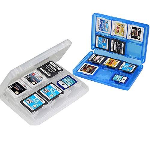 Mein HERZ 2 Pcs Boîte de Rangement Jeux Nintendo 28 en 1 Etui de Protection en Plastique Boîte de Rangement de Cartes de Jeu pour New NDS,NDSI,NDSILL,2DS,3DS,3DSLL/XL (Bleu + Blanc)