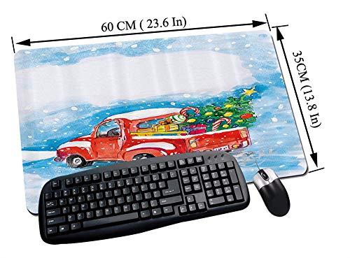 Gaming und Office Mauspad,Weihnachtsset, Vintage Red Truck in verschneiter Winterszene mit Weihnachtsbaum und Geschenken Candy Cane Kids, Beige,mit vernähten Rändern und rutschfester unterseite60x35cm