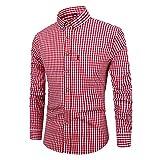 メンズ長袖コットンシャツメンズチェック柄シャツビジネスデイリーワークスリムエディション-スタンドカラーシャツ(ブラック、レッド、ライト
