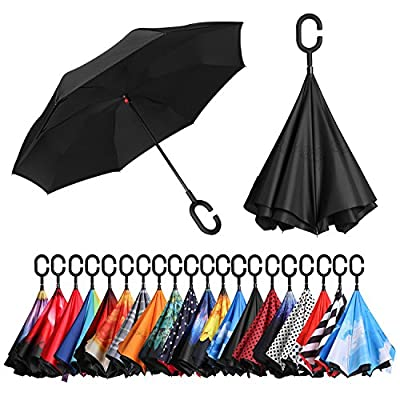 BAGAIL Double Layer Inverted Umbrellas Reverse Folding Umbrella Windproof UV Protection Big Straight Umbrella for Car Rain Outdoor with C-Shaped Handle(Black)