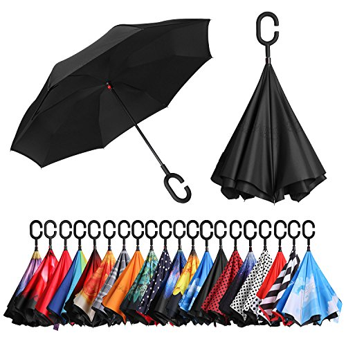 BAGAIL Double Layer Inverted Umbrellas Reverse Folding Umbrella Windproof UV Protection Big Straight Umbrella for Car Rain Outdoor with C-Shaped Handle (Black)