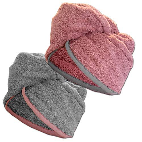 JEMIDI HOMELEVEL 2 Stück Frottee Turban Haarturban mit Gummi für Kinder aus 100% Baumwolle, saugstark, Stabiler Halt 1 x Grau + 1 x Altrose