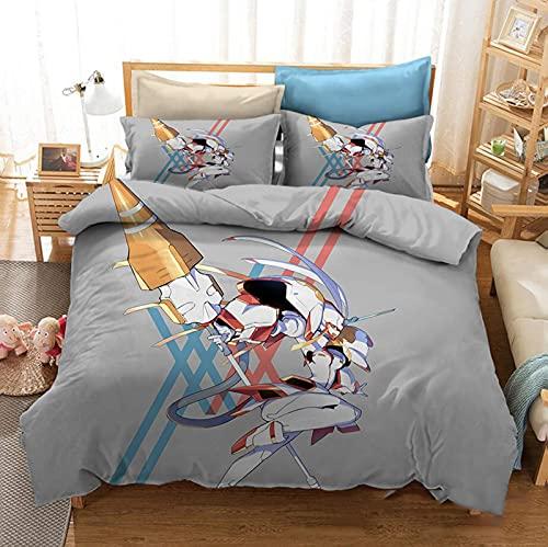 Juego de ropa de cama Darling in The Franxx 2 piezas/3 piezas juego de funda de edredón y fundas de almohada, juego de cama Anime Zero Two Prints