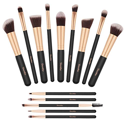 Pinselset, Yuwaku Make Up Pinsel Set 14 teilig Premium Synthetic Kabuki Eyeliner Lidschatten Schminkpinsel Augen Erröten Kosmetik Kit (Schwarz&Gold)