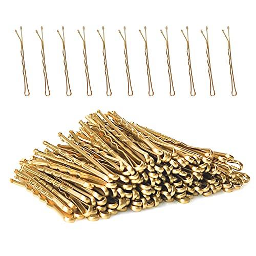 Ealicere 150 Stück Wellenform Haarnadeln Metall gold Bobby Pins- Haarspangen für Mädchen,Blond Gewellt Haarklammern
