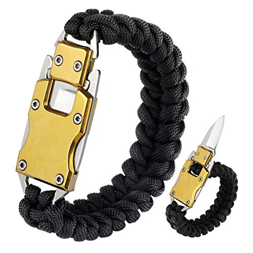 WEREWOLVES Paracord Knife Bracelet/Survival Knife Cord Bracelets, Tactical EDC Paracord Bracelet, Emergency Survival Gear for Hiking Traveling Camping, Paracord Bracelet for Men & Women (Black)
