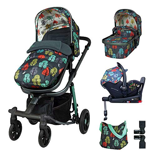 Cosatto Giggle Quad Pram Pushchair Everything Travel System – From Birth to 20kg, RAC Port i-Size Car Seat, Adaptors, ISOFIX Base, Footmuff & Bag (Hare Wood)