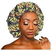 ZKAIAI 秋 冬 防寒 エクストララージサテン裏地ボンネットの女性ビッグサイズ美はサテンシルクボンネットスリープ・ナイトキャップヘッドカバーボンネット帽子卸売7.7を印刷します 男女兼用 (Color : BK)