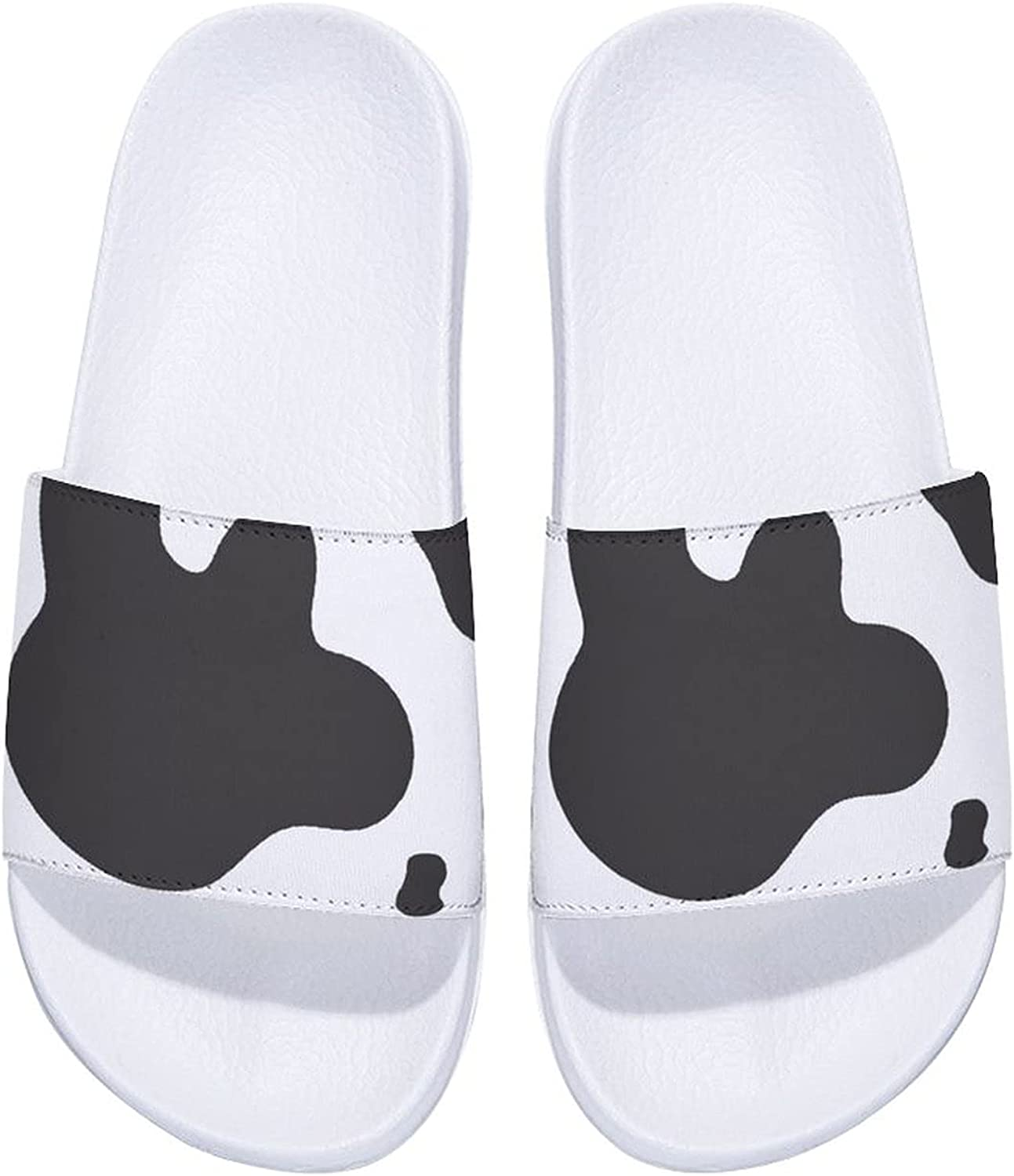Cow White And Max 44% OFF Black Kansas City Mall Skin Men's Women's and Comfort Slide Sandals