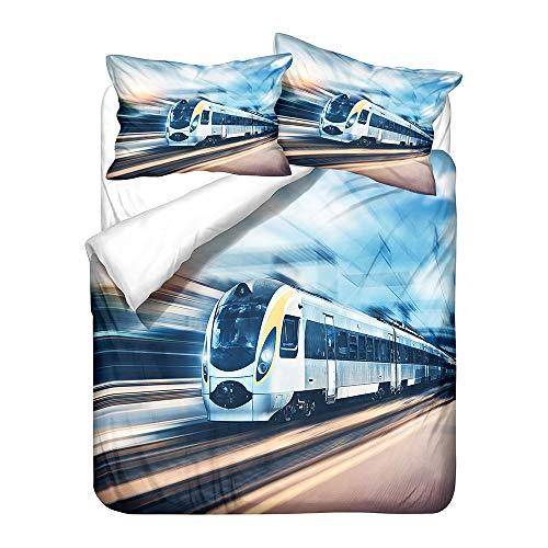 Hiser Bettwäsche-Set 3 Teilig Zug Drucken Bettwäsche Set - Mikrofaser Bettbezug & Kissenbezug - 3D Bedrucktes Erwachsene Kinder Bettwäsche-Set (Moderner Zug,135x200cm)