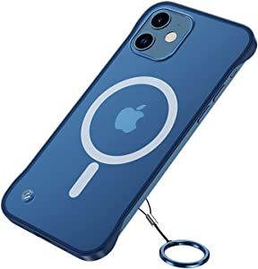 GALAPPLE Ultra-Thin Frameless Magnetic Case for iPhone 12|12pro, Blue Matte Minimalist Case with Shockproof Corner& Finger Loop String, Compatible with Magsafe Charger