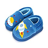 Ruiuzi Pantuflas Antideslizante de Invierno para niños Zapatillas de casa de Peluche cálida para niños (30/31 EU,Bleu)