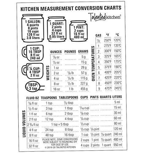"""Talented Kitchen Magnetic Kitchen Conversion Chart. Magnet Size 7"""" x 5"""" Includes Weight Conversion Chart, Liquid Conversion Chart and Temperature Conversion Chart. Premium Magnetic Vinyl on Fridge"""