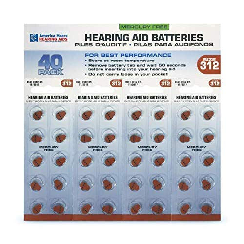 America Hears Size 312 Hearing Aid/Amplifier Batteries 40 Pack (Zinc Air Activated and Mercury Free)