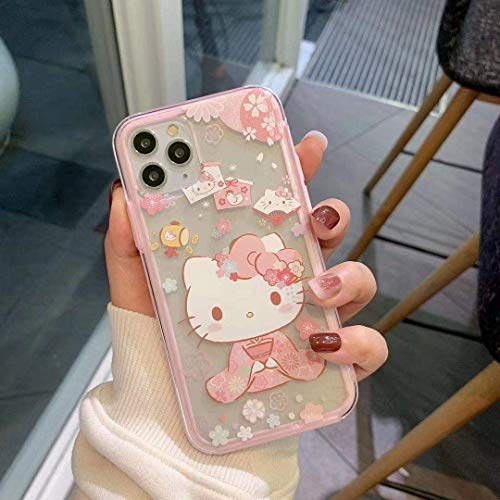 Hello Kitty Schutzhülle für iPhone 12 Pro Max 17 cm (6,7 Zoll), niedliches Cartoon-Hello Kitty-Design, stoßfest, weiche Hüllen (Pink, iPhone 12 Pro Max)