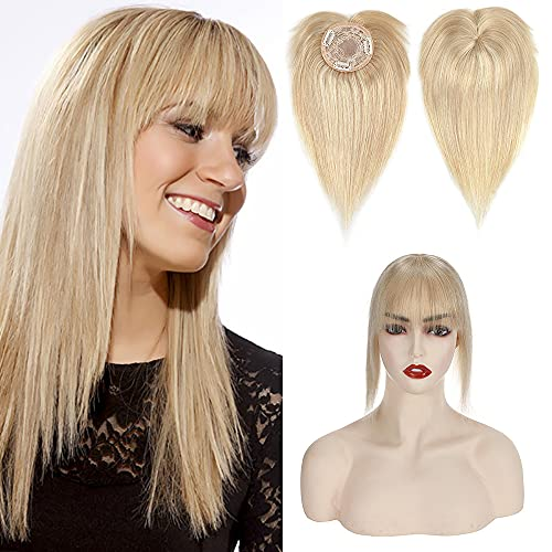 Clip In On Hair Topper with Bangs 100% Real Human Hair Toppers Mono...