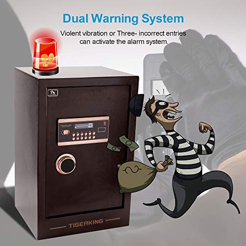 TIGERKING Burglary Digital Security Safe Box for Home Office Double Safety Key Lock and Password Safes 3.47 Cubic Feet
