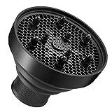 Heritan Universal plegable secador de pelo difusor accesorio plegable portátil viaje plegable diseño se adapta a la mayoría de secadores de pelo negro