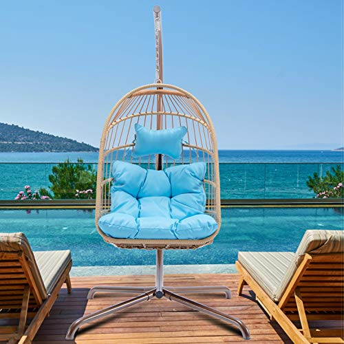 Egg Chair with Stand Indoor Hanging Chair with Soft Deep Cushion Outdoor Swing Chair with Stand Wicker Egg Chair Relaxing Basket (Khaki Wicker+Blue Cushion)