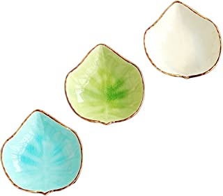 WAIT FLY Lovely Grape Leaves Shaped Ceramics Seasoning Dishes/ Tea Bag Holders/ Ketchup Saucer/ Appetizer Plates/ Vinegar Spice Salad Soy Sushi Wasabi Seasoning Dipping Bowls, Set of 3