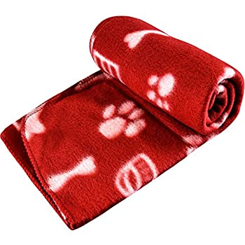 Grande couverture doux en polaire pour animal domestique Motif patte Idéal pour les petits chiens et chats Chiot Chaton Animal domestique de voiture Tapis de panier pour animal domestique