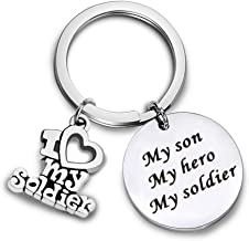 HOLLP Military Mom Gift My Son My Soldier My Hero Keychain for Army Mom Navy Mom Air Force Mom Soldier Parent Keychain