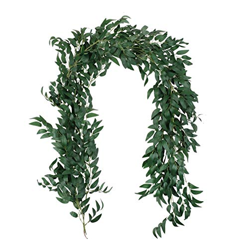 Homcomodar 2 Pack Artificial Hanging Leaves Vines 11.4 Ft Fake Willow Leaves Twigs Plant Garland String in Green Wedding Wall Decor