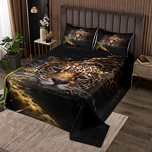 Leopard Steppdecke Wilder Leopard Tagesdecke 220x240cm für Kinder Jungen Jugend Mann Safari Wildtier Dekor Bettüberwurf 3D Tier Tierwelt Wohndecke 3St
