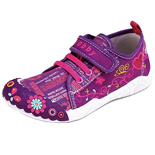 Kinder Freizeitschuhe Schuhe (191C) Leinenschuhe Kinderhausschuhe Größe 25-30 Lila, Größe 25