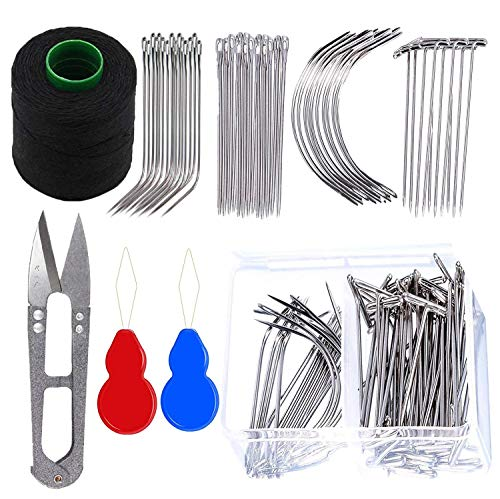 Hair Thread for Sewing Hair Weave Needle and Thread Kit for Sewing T Pins for Wigs Straight Pins Sewing Needle Threader for Hand Sewing