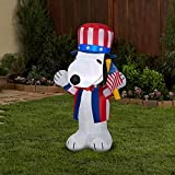 Gemmy Airblown Inflatable Patriotic Snoopy, 3.5 ft Tall, White