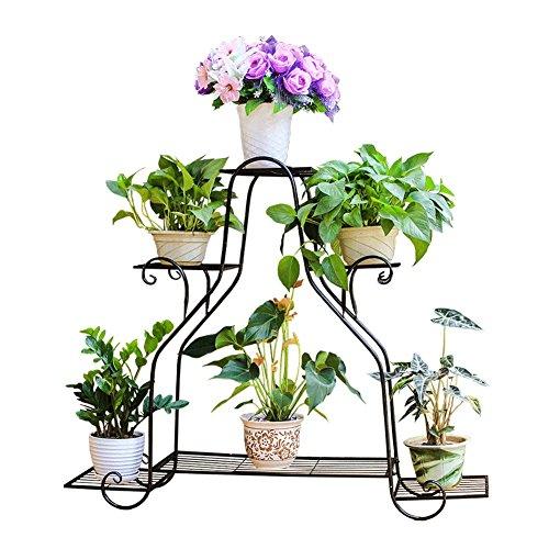 WLM Stand Plante En Pot En Rack Salon Balcon Multifonctionnel Fer Fleur Pot Rack Multi-couche Sol-placement Cadre Intérieur Extérieur Noir A+ (Size : 107×25.6×88.5cm)