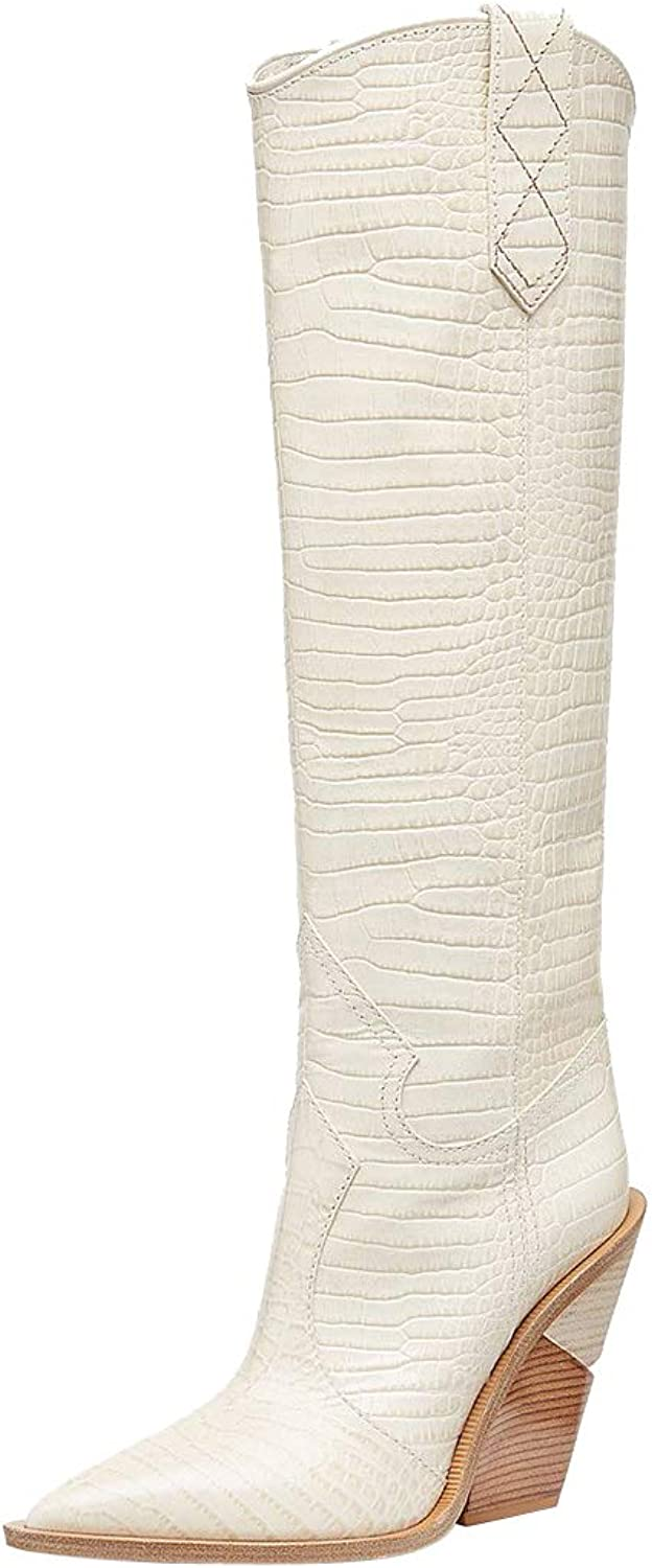 Themost Over The Knee High Boot Womens Cowboy Western Thigh High Boots Wedge Heel shoes Mid Calf Combat Booties White