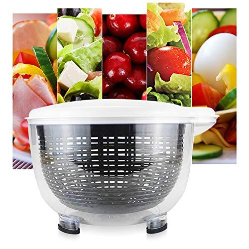 Salatschleuder trocknet und kleidet Salat, Kräuter, Gemüse und Obst einfaches Ablaufsystem, rutschfester Boden, mit klarer Servierschale, Siebkorb, Deckel, Wäscht, Kompakt,1pc