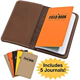 Handcrafted Stitched Leather Journal Notebook Cover with Inside Pocket: INCLUDES 5 Refillable Field Note Book Journals / Compatible with Field Notes and Moleskine Cahier Notebook (3.5'x5.5')