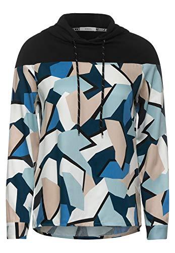 Cecil Damen Hoodie-Bluse mit Print Atlantic Green S