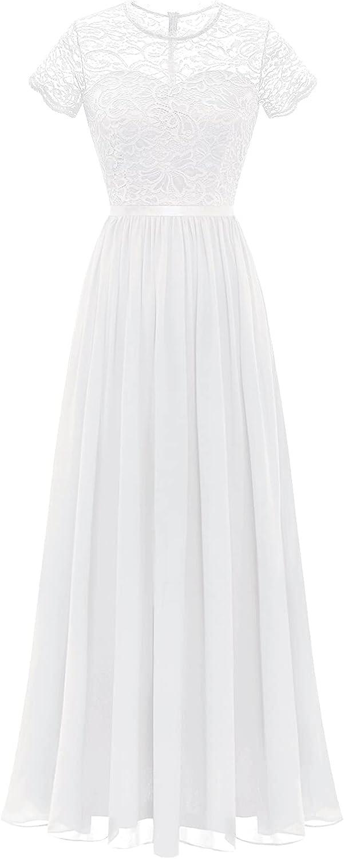 Dressystar Women Long Floral Lace Formal Dress Short Sleeve Bridesmaid Elegant Wedding Party Gown