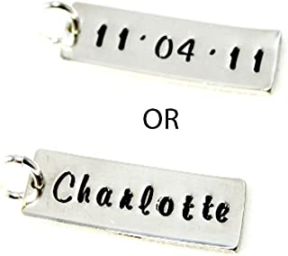 Hand Stamped Jewelry - Single TAG - One Sterling Silver TAG - Personalized Jewelry -