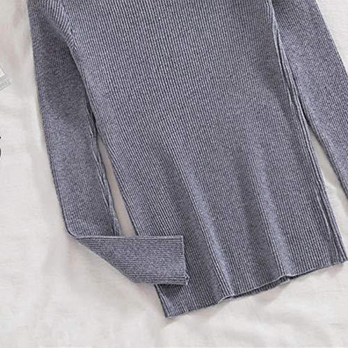 Moda Sudaderas Jersey Sweater Otoño Invierno Suéter Mujer Casual Manga Larga Medio Cuello Alto Elegante Ajustado Color Sólido Jersey Mujer Cuello Alto OneSize 04