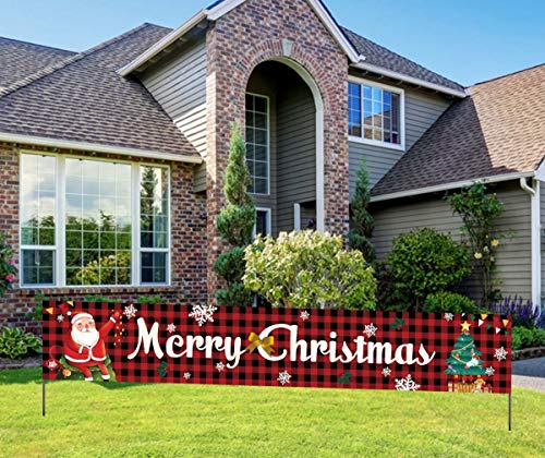 Merry Christmas Banner, Large Merry Christmas Red Buffalo Plaid Banner, Xmas Party Decor Supplies Indoor & Outdoor (9.8 * 1.6 feet)