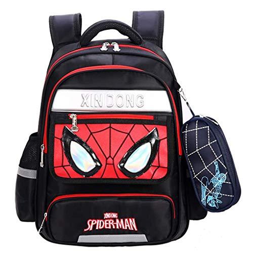 XNheadPS Childrens School Bag - Spiderman Mochila Ligera portátil Llevar el Equipaje de los niños en el Carro de la Maleta por Vacaciones Viajando,Black-M