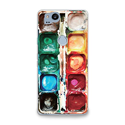 CasesByLorraine Compatible with Google Pixel 2 Case, Watercolor Paint Box Clear Transparent Flexible TPU Soft Gel Protective Cover for Google Pixel 2 5.0' (2017)