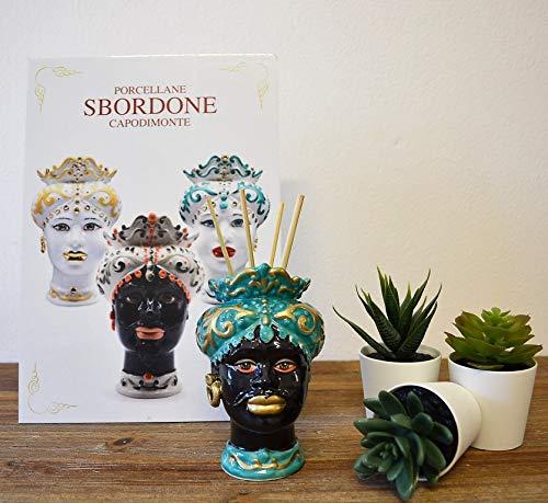 generica Testa di Moro in Porcellana H. 12 Nera Uomo TM56/1N Made in Italy SBORDONE