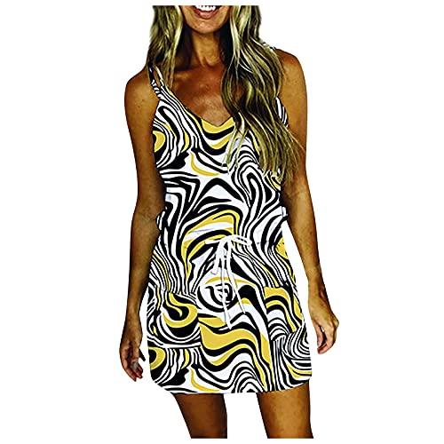 FOTBIMK Vestidos de verano para las mujeres gradiente Drawst Midi vestido sin tirantes correa hombro frío vestidos V-cuello vestido con bolsillo, naranja, L