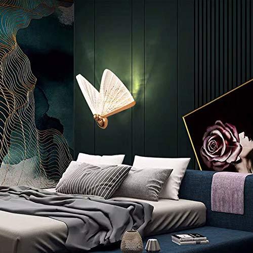QEGY Mariposa LED Aplique de Pared Dormitorio, Lámpara de Pared Ajustable Sala de Estar, Luz de Pared Blanca Cálida con Dorado Base y Vistoso Acrílico Pantalla, 600 Lumen,B